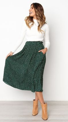 Green Polka Dot Midi Skirt – Jassie Line Green Polka Dot . Green Polka Dot Midi Skirt – Jassie Line Green Polka Dot Midi Skirt – Jassie Line Summer Work Outfits, Spring Outfits, Cool Outfits, Casual Outfits, Skirt Outfits Modest, Spring Skirts, Modest Skirts, Maxi Skirt Outfit Summer, Midi Skirt Outfit Casual