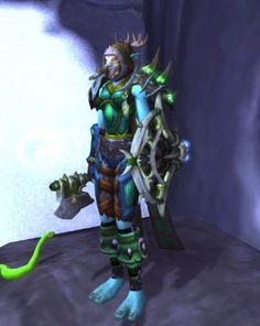 Shaman green and blue mail. Does not match terribly well but I loved the sharpness of the colors. Boots and weapon are placeholders.