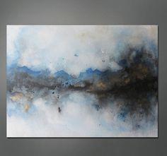 "love it – Abstract Painting Blue, Black, Gold, Metallic 30"" x 40"". $499.00, via Etsy."