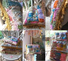 Boho Creek Chic Pillow, Small, Silk Patchwork, Embroidered Buttons, Bohemian, Gypsy, Home Decor, Cushion. $175.00, via Etsy.