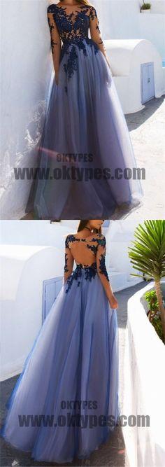 Blue Long Prom Dresses, A-line Prom Dresses, Appliques Prom Dresses, Beading Prom Dresses, Open-back Prom Dresses, TYP0075 #promdresses
