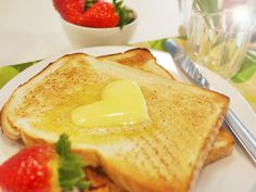 Toast with Heart Shaped Butter
