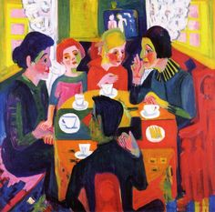 Kaffeetisch. Ernst Ludwig Kirchner was a  German painter, printmaker and sculptor. He is one of the most important representatives of Expressionism. He was the leading figure in Die Brücke, which was active in Dresden and Berlin from 1905 to 1913. His pictures of urban life have become the incarnation of the nervously agitated modern state of mind in Europe on the eve of World War I