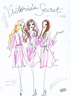 Pretty drawing with their robes on. The closest I'll get to posting anything Victoria's Secret related on my wall :)) Bridal Bouquet Blue, Miss Girl, Illustration Sketches, Fashion Illustrations, Pretty Drawings, Putting On Makeup, Pink Nation, Girly Quotes, Pretty In Pink