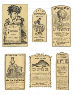 Vintage 1800's Pharmacy Apothecary Druggists Labels