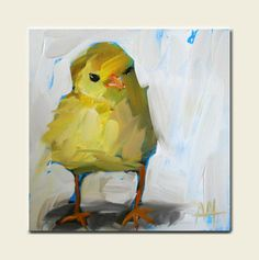 spring chick original painting by moulton 5 x 5 by prattcreekart