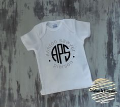 Baby Boy Onesie, Newborn onesie, Personalized Onesie, Baby shower gift, Circle Monogram Onesie by RefinedByElegance on Etsy https://www.etsy.com/listing/399280685/baby-boy-onesie-newborn-onesie