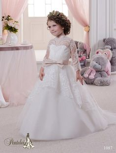 2b5a7bfc38f 2016 Miniature Bride Dresses with High Neck and Long Sleeves Lace Appliques  Tulle Ball Gown Cute Flower Girls Gowns with Train