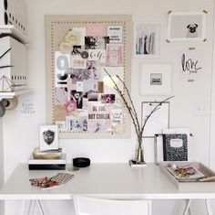 white desk space + art grouping
