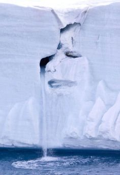 A dramatic picture taken by Michael Nolan has been dubbed the face of Mother Nature crying on a canvas of melting ice and cascading water on a Norwegian Glacier. Randy Schutt discovered this amazing photo which shows a crying face in an ice cap located on Nordaustlandet, in the Svalbard archipelago of Norway. The tears of this natural sculpture were created by a waterfall of glacial water cascading from one of the face's eyes.