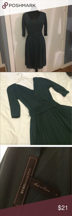 BCBG Max Azaria deep green dress. A beautiful faux wrap dress with pleated skirt. Super flattering and perfect for any occasion. BCBGMaxAzria Dresses