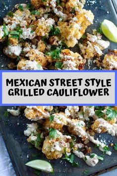 Mexican Street Style Grilled Cauliflower This Mexican Street Style Grilled Cauliflower is what summer flavors in Texas are all about! This easy… Veggie Dishes, Lunch Recipes, Vegetable Recipes, Appetizer Recipes, Diet Recipes, Vegetarian Recipes, Cooking Recipes, Healthy Recipes, Side Dishes