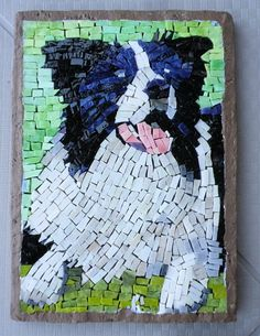 Dog Mosaic Pet Portrait Patches by LachanceGlassMosaic on Etsy Tile Crafts, Mosaic Crafts, Mosaic Projects, Mosaic Ideas, Stained Glass Designs, Mosaic Designs, Mosaic Patterns, Border Collie Art, Mosaic Animals