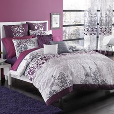 Want this bedding set for our bedroom. Plum purple and gray! Love this color combo! Feminine and masculine at the same time. Curtains are too much though. Would go with a solid color. Maybe a plum purple curtain with a light gray wall color.