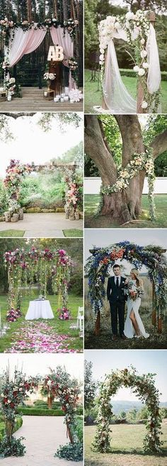 organic floral greenery outdoor wedding ceremony arch ideas