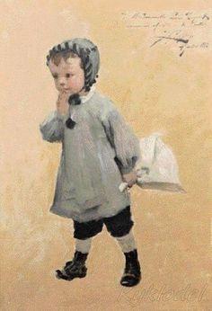 Henry Jules Jean Geoffroy (French, 1853 - 1924) «Petit garcon au bouquet»