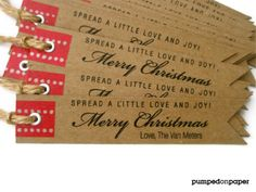 Etsy - personalized holiday gift tags with red washi by pumpedonpaper, $23.00 love this added to a homemade gift/personalized