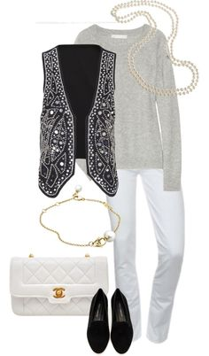 """White Denim, Cashmere and Sparkle"" by simple-wardrobe ❤ liked on Polyvore"