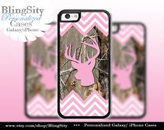 Pink Camo Buck Head Antlers Iphone 5C case iPhone 5s iPhone 4 case Ipod 4 5 Touch case Real Tree Chevron Zig Zag Personalized by BlingSity