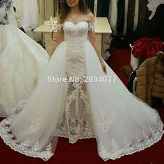 Custom Made Elegant Ivory Two Piece Wedding Dresses Removable Skirt Lace Bridal Gowns Zipper Off The Shoulder Gelinlik-in Wedding Dresses from Weddings & Events on Aliexpress.com | Alibaba Group