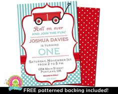 The purchase of this listing is for a single digital little red wagon birthday party invitation and a complimentary patterned backing, as our