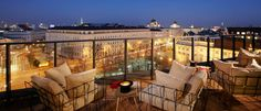 Savor the last days of summer on the terrace of the Hotel's Dachboden, the trendy rooftop bar with a spectacular view of Vienna. Hotel Rooftop Bar, Hotel S, Outdoor Sofa, Outdoor Furniture Sets, Outdoor Decor, Toys In The Attic, Last Day Of Summer, Valance Curtains, Patio