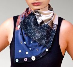 Echarpe,cols ,foulards en soie,coton,dentelle,satin,boutons décoratifs bd384707c1d