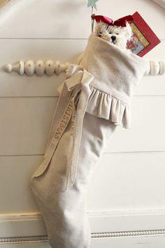 Christmas+Stocking+Raw+cotton+ivory+classic+handmade+by+atcompanyb,+$60.00