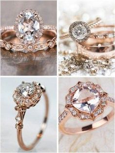 wedding rings modern Strictly Weddings top picks for rose gold engagement rings showcasing modern designs that are blended with a vintage feel creating all kinds of prettiness. Vintage Gold Engagement Rings, Best Engagement Rings, Wedding Rings Vintage, Rose Gold Engagement Ring, Vintage Rings, Oval Engagement, Vintage Style, Engagement Jewelry, Unique Vintage