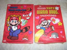 Vintage Rare 1989 Nintendo Super Mario Bros. Valentine Cards 2 Sealed
