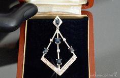 Vintage: LIQUIDACIÓN! C1950 Cadena y Colgante de Oro Blanco 18K, Diamantes y Zafiros - Total: 2.00 CT. - Foto 3 - 51181893