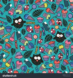 Endless wallpaper with cute crazy owls and candies. Vector seamless pattern of cakes and desserts. #owl #pattern #illustration #ekapanova #shutterstock #cute