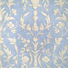 WP81644-004, Arabesque, Plaster White On Nordic Blue Fresco, Scalamandre Wallpapers