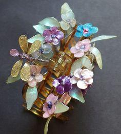 fabriquer des bijoux et pince à cheveux ornée de fleurs multicolores