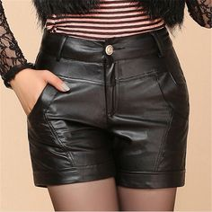 81cbc146359 High quality 2015 Brand Women shorts Plus Size Faux Leather Slim High Waist  PU Hot Short