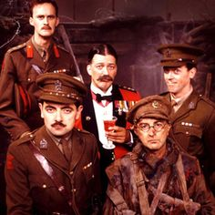 """""""Blackadder Goes Forth"""" via BBC Comedy. L-R: (back) Captain Kevin Darling (Tim McInnerny), General Melchett (Stephen Fry) and Lieutenant George (Hugh Laurie); (front) Captain Edmund Blackadder (Rowan Atkinson) and Private S. Nikki Cox, British Comedy Series, British Sitcoms, British Actors, Charlie Day, Comedy Show, Comedy Tv, Futurama, Welsh"""