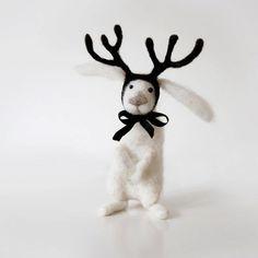 $87 Snowy winter with OREO polar rabbit with deer antlers, handmade white bunny rabbit art doll
