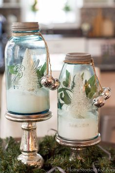 Christmas tree mason jar. A cluster of these would make a beautiful centerpiece on the table.