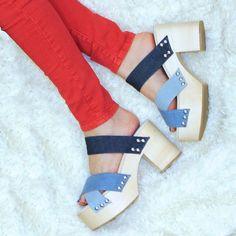 @JeffreyCampbell Baretta Platform Sandal #denimshoes  #platforms