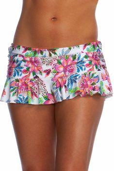 bcd01a9881eb9 La Blanca Women's Skirted Ruffle Hipster Bikini Swimsuit Bottom  White//Botani.