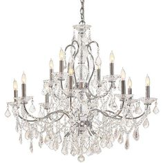 Contessa Vintage Crystal 12-Light Chandelier ($2,199) ❤ liked on Polyvore featuring home, lighting, ceiling lights, crystal chandelier light, crystal teardrop chandelier, teardrop chandelier, crystal chandelier and crystal ceiling lights