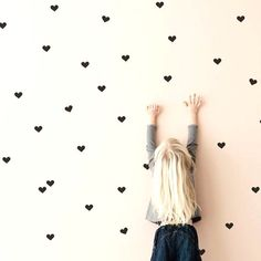Black Heart Wall Stickers Hearts Wall Decals Mini by tayostudio Childrens Wall Stickers, Vinyl Wall Stickers, Wall Decals, Wall Vinyl, Girl Room, Girls Bedroom, Bedrooms, Neon Design, Mini Heart