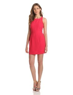 aryn K Womens Dress With Sheer Detail Cerise Large ** Click image for more details.