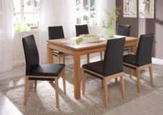 Essgruppe mit Tisch 160 x 90 cm Eiche natur massiv geölt / 6 Stühle Kunstleder schwarz Jetzt bestellen unter: https://moebel.ladendirekt.de/kueche-und-esszimmer/stuehle-und-hocker/esszimmerstuehle/?uid=67bbaeca-c791-58f7-84f6-8be4ca342c6e&utm_source=pinterest&utm_medium=pin&utm_campaign=boards #kueche #esstische #esszimmerstuehle #esszimmer #hocker #stuehle