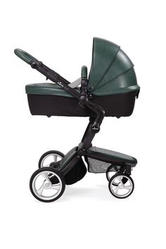 New British Green leather-look stroller in carrycot mode