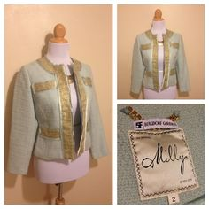 Milly Blue Boucle Blazer Size 2 Avail now