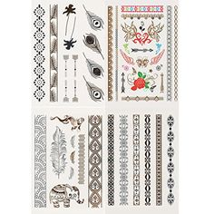 Metallic Gold Silver Foil, Black Colorful Jewelry Temporary Tattoo, 45 Tats Total!, in Multi with Metallic Finish -- Want to know more, click on the image. (This is an affiliate link and I receive a commission for the sales) #Makeup