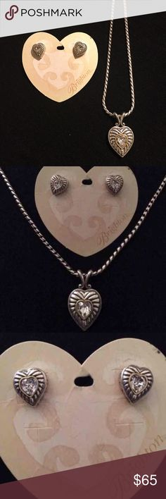 BRIGHTON HEIRESS NECKLACE & EARRINGS AUTHENTIC BRIGHTON ❤️new never used ❤️silver plate with gold accents ❤️clear Swarovski crystals  ❤️earrings have post backings ❤️necklace measures about 16-18 inches ❤️selling as a set only ❤SORRY NO TRADING ❤️reasonable offers welcomed ❤️no low balling pretty please ❤️ships within 24 hours ❤️thanks for stopping by my closet Brighton Jewelry Necklaces