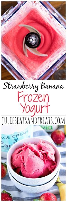 Strawberry Banana Frozen Yogurt ~ Light, Healthy Frozen Yogurt Recipe Loaded with Bananas and Strawberries!