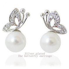FAMSHIN 2016-Song hye-kyo butterfly pearl earrings, han edition earrings fashion jewelry for the brides earring